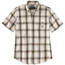 Men's Loose Fit Midweight Chambray Short Sleeve Plaid Shirt