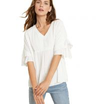 Women's Pleated Top With Flare Sleeves