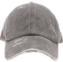 Washed Denim High Ponytail Ball Cap