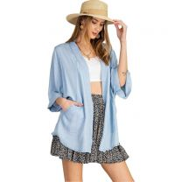 Women's Denim Chambray Kimono