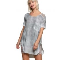 Women's Top Round Hem Lace Detail